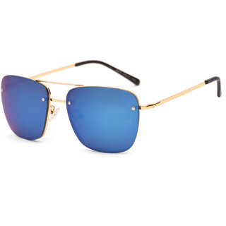 Royal Son Blue Mirrored Square Men Sunglasses