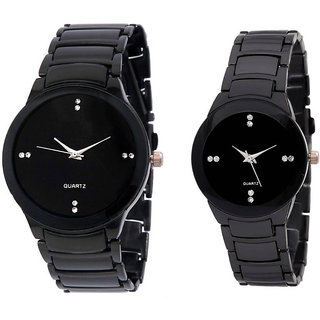 Men In Black Collection Metal Strap Round Analog Watch For Boys And Girls - Couple Watch