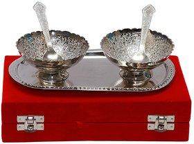 Satya Handmade Silver 2 Brass Bowl Spoon 1 Tray Set