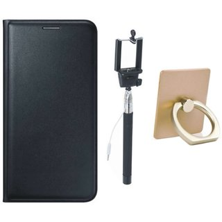 Redmi 4 Leather Cover with Ring Stand Holder, and Selfie Stick