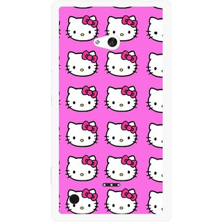 Snooky Printed Pink Kitty Mobile Back Cover For Nokia Lumia 720 - Multicolour
