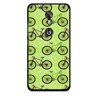 Snooky Printed Cycle Mobile Back Cover For Gionee A1 - Green