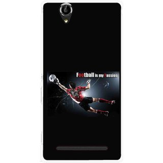 Snooky Printed Football Passion Mobile Back Cover For Sony Xperia T2 Ultra - Black