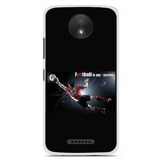 Snooky Printed Football Passion Mobile Back Cover For Motorola Moto C Plus - Black
