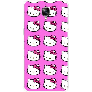 Snooky Printed Pink Kitty Mobile Back Cover For OnePlus 3 - Multicolour