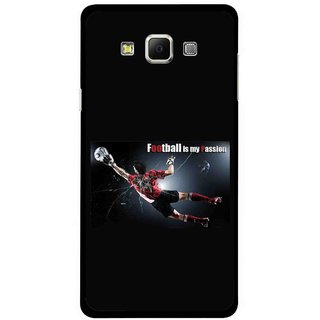 Snooky Printed Football Passion Mobile Back Cover For Samsung Galaxy E5 - Black