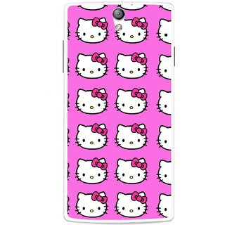 Snooky Printed Pink Kitty Mobile Back Cover For Oppo Find 5 Mini - Multicolour
