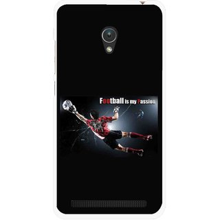 Snooky Printed Football Passion Mobile Back Cover For Asus Zenfone Go ZC451TG - Black