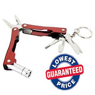 9 in 1 Micro Plier Tool Kit LED Flash Light Knife Blade Cutter Key Ring