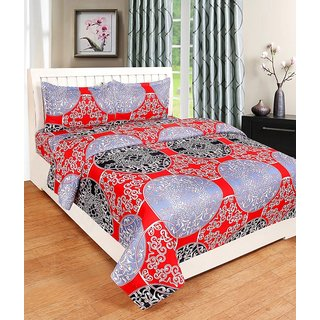 Trendz Home Furnishing 180 Tc 3D Double Bedsheet With 2 Pillow Covers 90x100 Inches Pillow 17x27