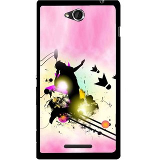 Snooky Printed Flying Man Mobile Back Cover For Sony Xperia C - Pink