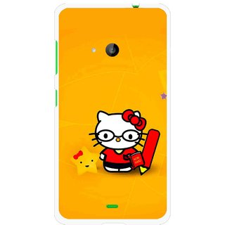 Snooky Printed Kitty Study Mobile Back Cover For Microsoft Lumia 535 - Orange