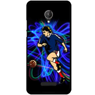 Snooky Printed Football Passion Mobile Back Cover For Micromax Canvas Spark Q380 - Black