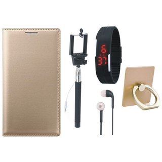 Redmi 4 Leather Cover with Ring Stand Holder, Selfie Stick, Digtal Watch and Earphones
