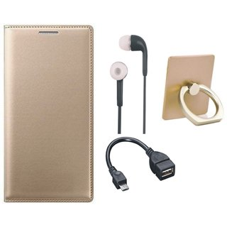 Redmi 4 Flip Cover with Ring Stand Holder, Earphones and OTG Cable