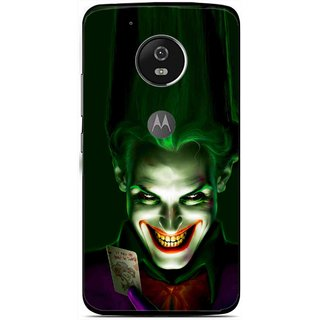 Snooky Printed Loughing Joker Mobile Back Cover For Moto G5 Plus - Green