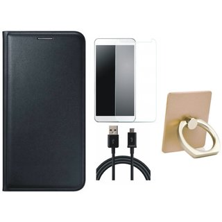 Oppo F3 Flip Cover with Ring Stand Holder, Tempered Glass and USB Cable