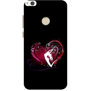 Snooky Printed Lady Heart Mobile Back Cover For Huawei Honor 8 Lite - Black