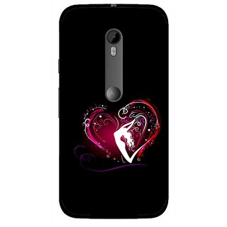Snooky Printed Lady Heart Mobile Back Cover For Moto G3 - Black