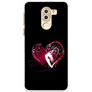 Snooky Printed Lady Heart Mobile Back Cover For Huawei Honor 6X - Black