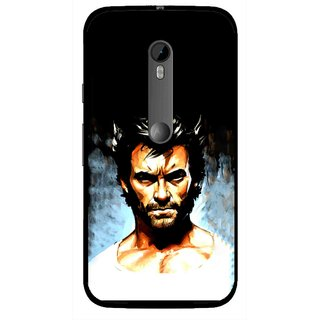 Snooky Printed Angry Man Mobile Back Cover For Moto G3 - Black