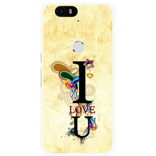 Snooky Printed Love You Mobile Back Cover For Huawei Nexus 6P - Yellow