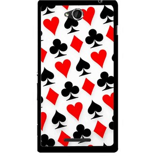 Snooky Printed Playing Cards Mobile Back Cover For Sony Xperia C - Multi