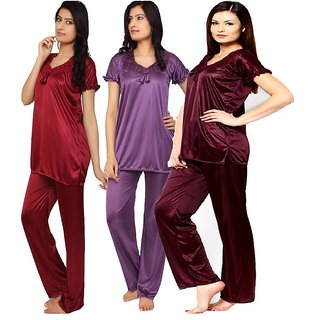 Rame Combo pack of three Satin XL Size night dress
