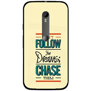 Snooky Printed Chase The Dreams Mobile Back Cover For Moto G3 - Yellow