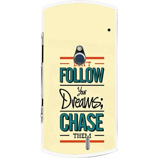 Snooky Printed Chase The Dreams Mobile Back Cover For Sony Ericsson Xperia Neo V - Yellow