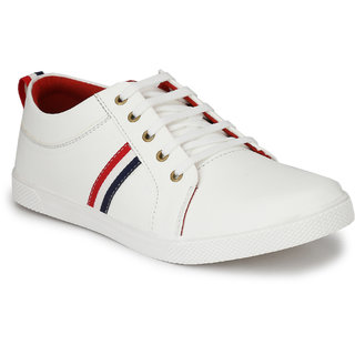 Bunkeys Men's White Synthetic Leather Smart Casual Shoes