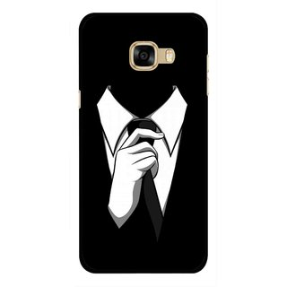 Snooky Printed White Collar Mobile Back Cover For Samsung Galaxy C7 - Multicolour