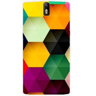 Snooky Printed Hexagon Mobile Back Cover For OnePlus One - Multicolour