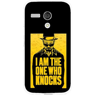 Snooky Printed Who Knocks Mobile Back Cover For Moto G - Black