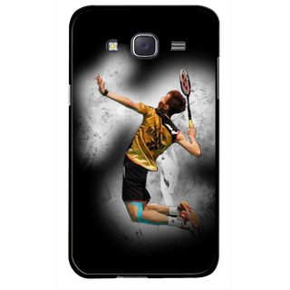 Snooky Printed Badminton Mania Mobile Back Cover For Samsung Galaxy J7 - Multicolour