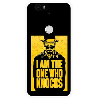 Snooky Printed Who Knocks Mobile Back Cover For Huawei Nexus 6P - Black