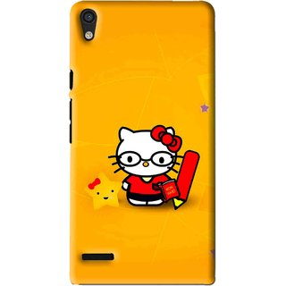 Snooky Printed Kitty Study Mobile Back Cover For Huawei Ascend P6 - Orange