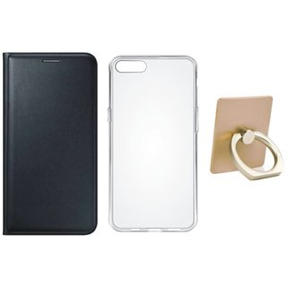 Redmi 4A Premium Leather Cover with Ring Stand Holder, Silicon Back Cover, Free Silicon Back Cover