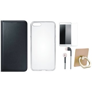 Oppo F3 Plus Flip Cover with Ring Stand Holder, Silicon Back Cover, Earphones and Tempered Glass