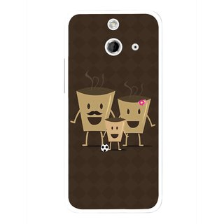 Snooky Printed Wake Up Coffee Mobile Back Cover For HTC One E8 - Multicolour