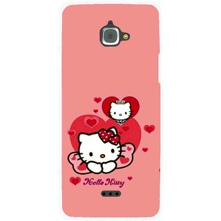 Snooky Printed Pinky Kitty Mobile Back Cover For Infocus M350 - Pink