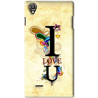 Snooky Printed Love You Mobile Back Cover For Lava Iris 800 - Yellow