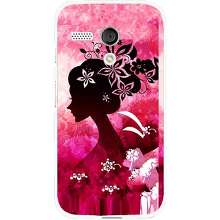 Snooky Printed Pink Lady Mobile Back Cover For Moto G - Pink
