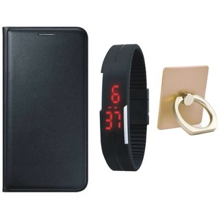 Oppo F3 Plus Premium Leather Cover with Ring Stand Holder, Digital Watch