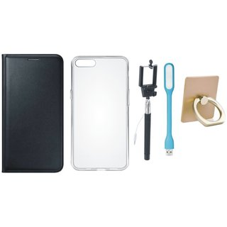 Oppo F3 Plus Premium Leather Cover with Ring Stand Holder, Silicon Back Cover, Selfie Stick and USB LED Light