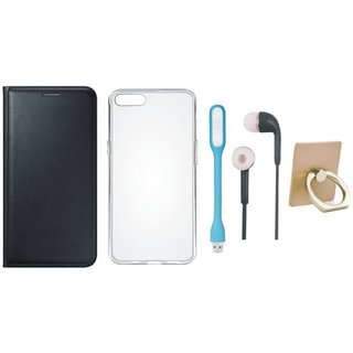 Oppo F3 Stylish Cover with Ring Stand Holder, Silicon Back Cover, Earphones and USB LED Light