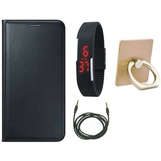 Oppo F3 Leather Flip Cover with with Ring Stand Holder, Digital Watch and AUX Cable