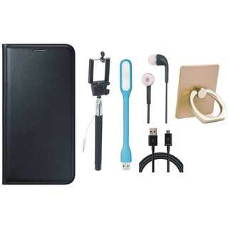 Oppo F3 Leather Flip Cover with with Ring Stand Holder, Selfie Stick, Earphones, USB LED Light and USB Cable