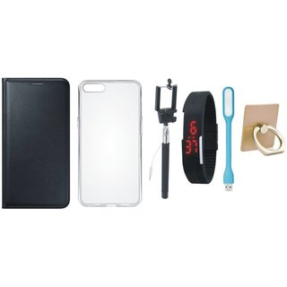 Oppo F3 Leather Flip Cover with with Ring Stand Holder, Silicon Back Cover, Selfie Stick, Digtal Watch and USB LED Light