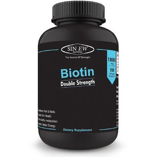 Sinew Nutrition Biotin 10,000mcg (Vitamin B7 for Hair, Skin Nails) 100 Veg Softgels